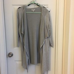 Hooded Medium weight open front cardigan